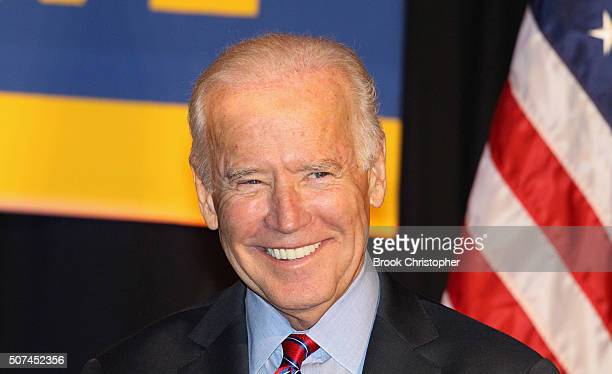 S Vice President Joe Biden speaks at a rally for paid family leave as he and NY Governor Andrew Cuomo deliver remarks on economy on January 29 2016...