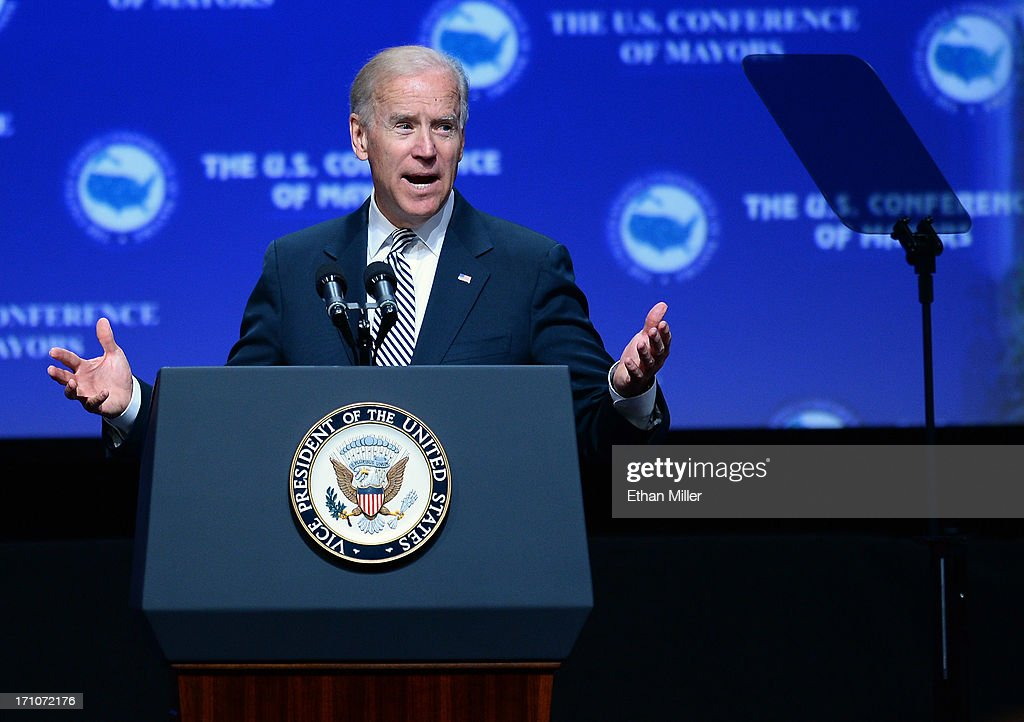 U.S. Vice President Joe Biden speaks at the 81st annual U.S. Conference of Mayors at the Mandalay Bay Convention Center on June 21, 2013 in Las Vegas, Nevada. Biden addressed about 150 mayors from across the country on issues including the economy, immigration reform and gun violence.