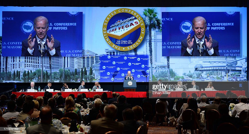 U.S. Vice President Joe Biden (C) speaks at the 81st annual U.S. Conference of Mayors at the Mandalay Bay Convention Center on June 21, 2013 in Las Vegas, Nevada. Biden addressed about 150 mayors from across the country on issues including the economy, immigration reform and gun violence.