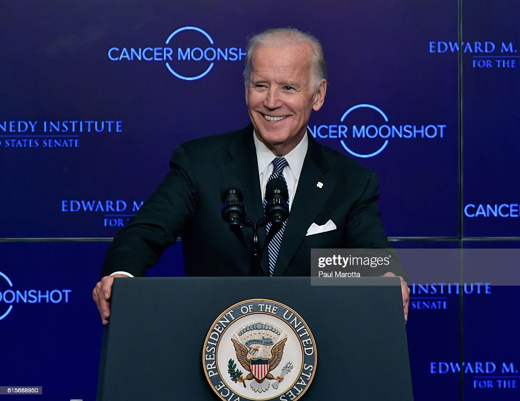 Vice President Joe Biden speaks at the Edward Kennedy Institute on the White House Cancer Moonshot Task Force's mission to double the rate of progress in cancer research and treatment on October 19, 2016 in Boston, Massachusetts.