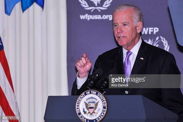 Vice President Joe Biden speaks before presenting an award to fashion designer Michael Kors during the World Food Program USA's 2016 McGovernDole...