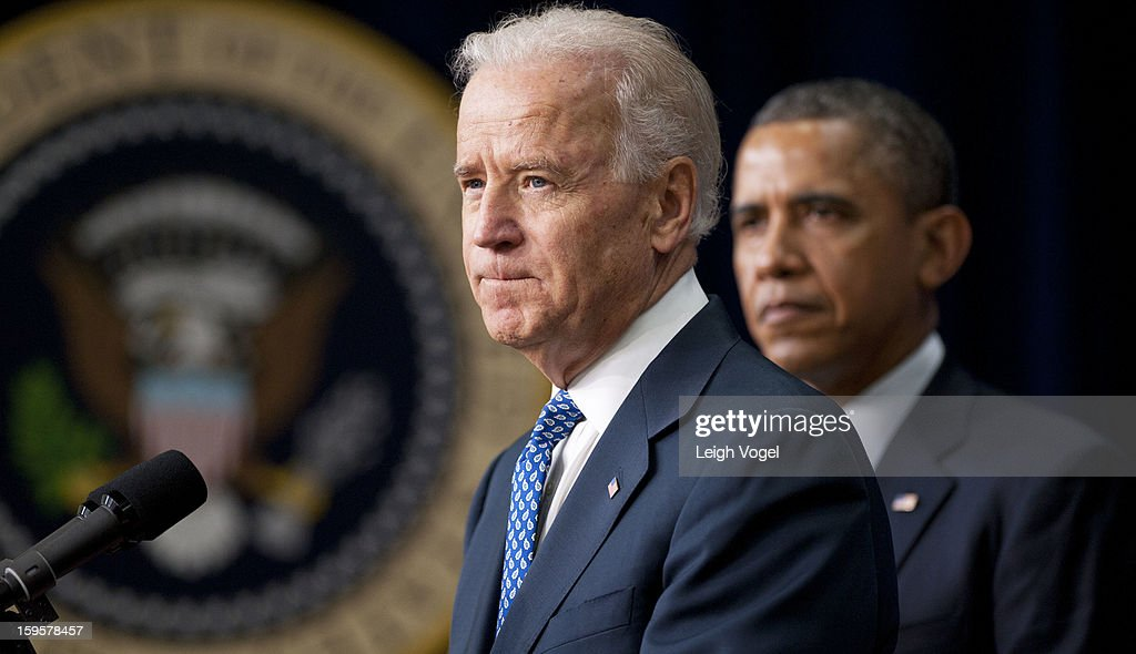 Vice President Joe Biden speaks before President <a gi-track='captionPersonalityLinkClicked' href=/galleries/search?phrase=Barack+Obama&family=editorial&specificpeople=203260 ng-click='$event.stopPropagation()'>Barack Obama</a> signs executive orders designed to reduce gun violence in the United States in the Eisenhower Executive Building enter caption here on January 16, 2013 in Washington, DC.