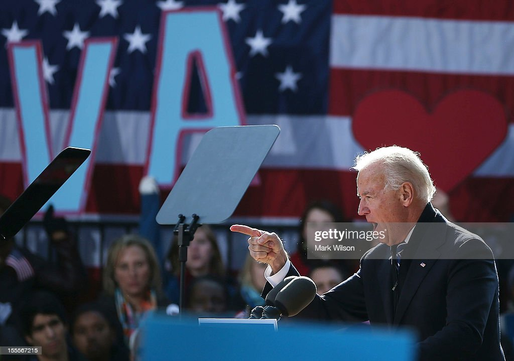 U.S. Vice President Joe Biden speaks during a campaign rally at the Heritage Farm Museum, on November 5, 2012 in Sterling, Virginia. Tomorrow voters nationwide will head to the polls to vote in the presidential and congressional elections.