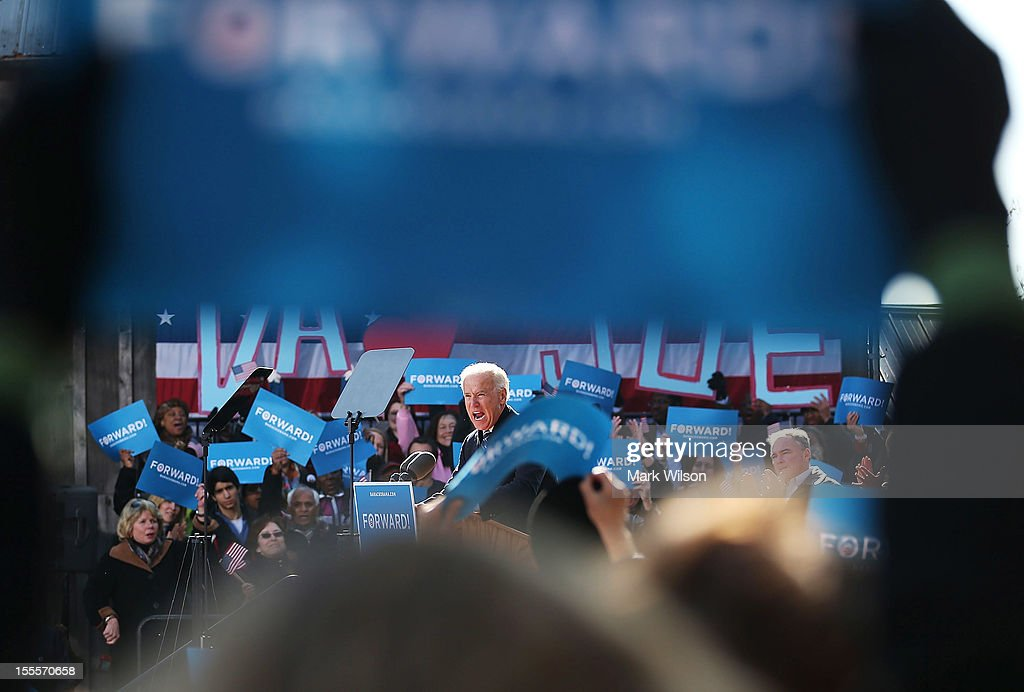 U.S. Vice President Joe Biden speaks during a campaign rally at the Heritage Farm Museum on November 5, 2012 in Sterling, Virginia. Tomorrow voters nationwide will head to the polls to vote in the presidential and congressional elections.