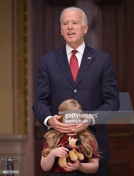 US Vice President Joe Biden speaks during an event with members of Congress to highlight the benefits of the ABLE Act in the Eisenhower Executive...