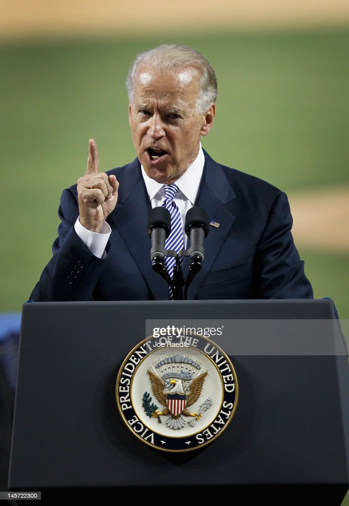 Vice President Joe Biden speaks during the commencement ceremony for Cypress Bay High School graduates at Marlins Park on June 4, 2012 in Miami, Florida. With Florida being an important swing state in the national election both Biden and President Barack Obama along with the Republican challengers are expected to make more campaign appearances before voters head to the polls in November.