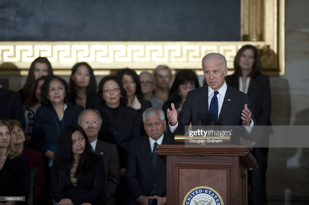 Vice President Joe Biden, speaks in the Rotunda as U.S. Senator Daniel Inouye (D-HI) lies in state December 20, 2012 on Capitol Hill in Washington, DC. The late Senator had died at the age of 88 on Monday at the Walter Reed National Military Medical Center in Bethesda, Maryland where he had been hospitalized since early December. A public funeral service will be held at the Washington National Cathedral on Friday for Senator Inouye, a World War II veteran and the second-longest serving senator in history. His remains will be returned and laid to rest in his home state.