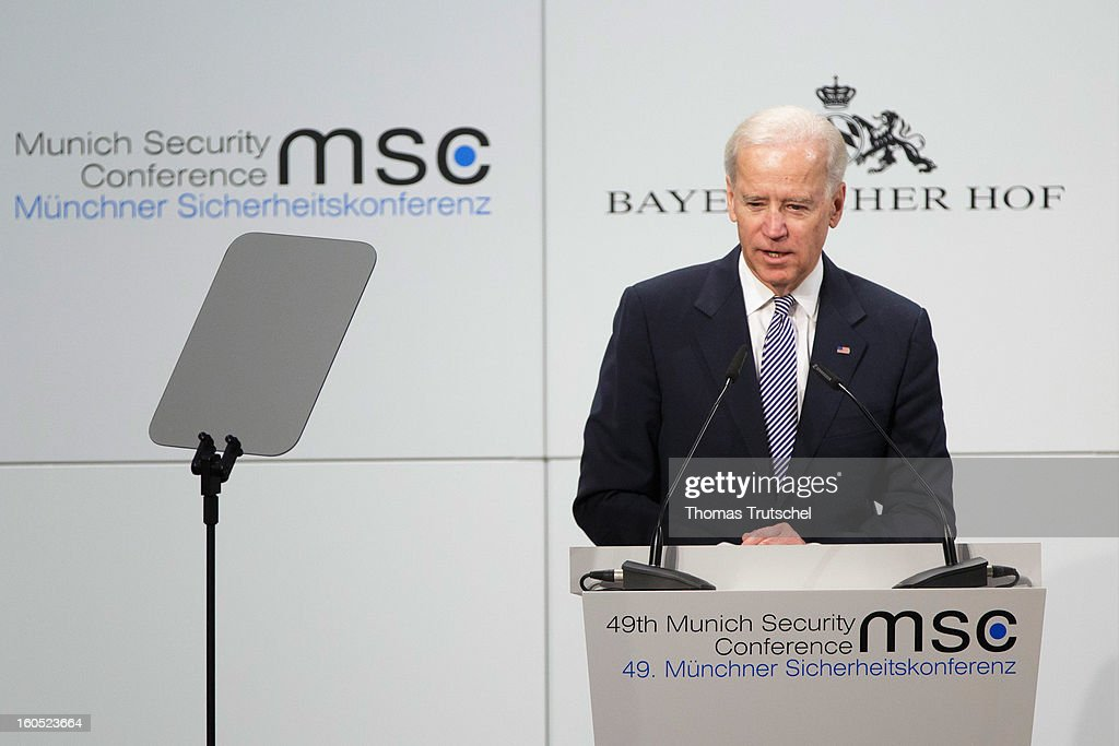 U.S. Vice President Joe Biden speaks on day 2 of the 49th Munich Security Conference at Hotel Bayerischer Hof on February 2, 2013 in Munich, Germany. The Munich Security Conference brings together senior figures from around the world to engage in an intensive debate on current and future security challenges and remains the most important independent forum for the exchange of views by international security policy decision-makers.