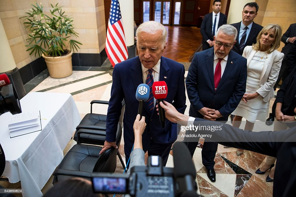 Vice President Joe Biden speaks out against ISIS after leaving his condolences for the victims of the Istanbul Airport bombing in a book at the Turkish Embassy in Washington, USA on June 29, 2016.