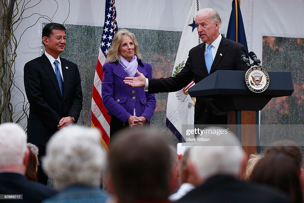 Vice President Joe Biden (R) speaks while flanked by his wife Dr. Jill Biden and Veterans Affairs Secretary Eric Shinseki (L), during a Veterans Day luncheon at the Naval Observatory on November 11, 2009 in Washington, DC. Vice President Bided hosted a luncheon for veterans and their families in honor of Veterans Day.