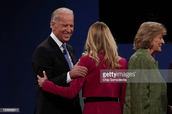 S Vice President Joe Biden speaks with Janna Ryan after the vice presidential debate at Centre College October 11 2012 in Danville Kentucky This is...