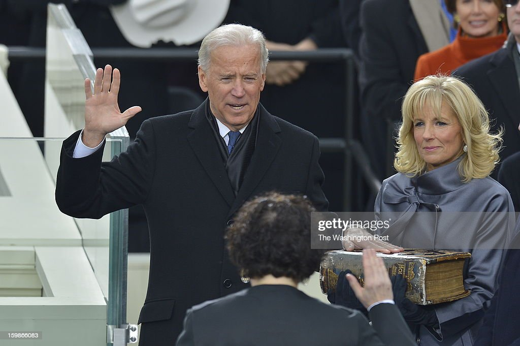 Vice President Joe Biden takes the oath of office from Supreme Court Associate Justice Sonia Sotomayor as Dr. Jill Biden, wife of Vice President Joe Biden holds the Bible during the 57th Presidential Inauguration Ceremony at the United States Capitol on Monday, January 21, 2013. President Barack Obama was sworn in for his second term of office.
