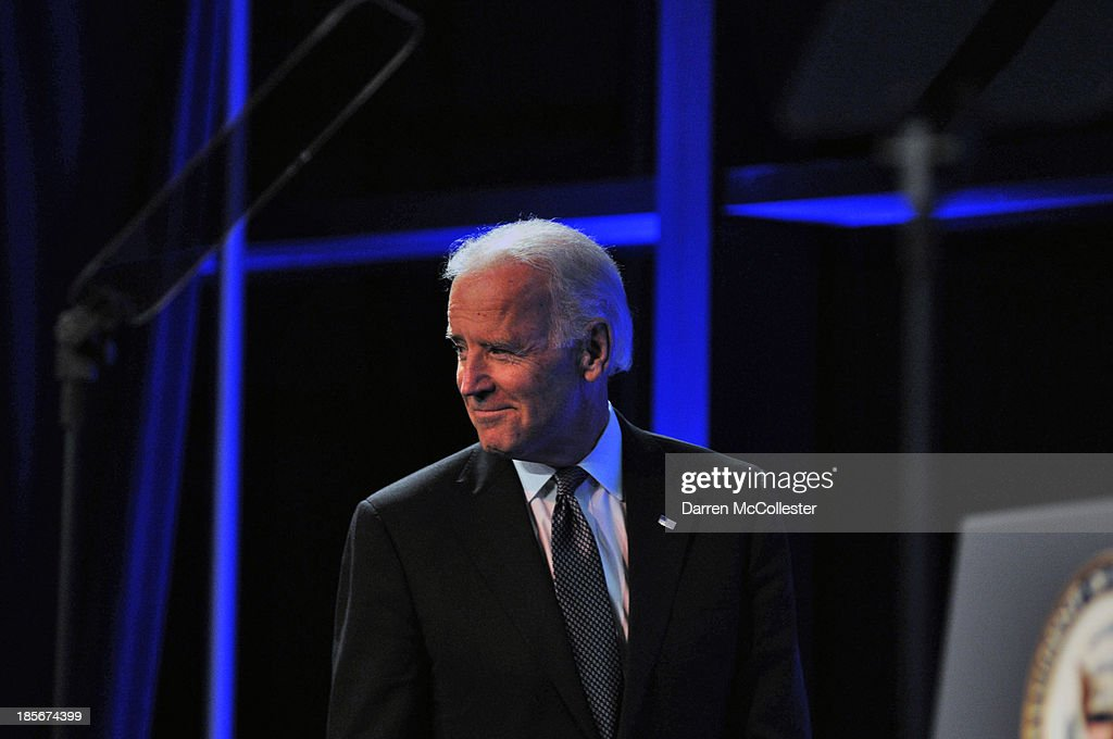 U.S. Vice President Joe Biden takes the stage to speak at a mental health forum at the John F. Kennedy Presidential Library and Museum October 23, 2013 in Boston, Massachusetts. The event event marks the 50th anniversary of President John F. Kennedy's signing of the Community Mental Health Act.