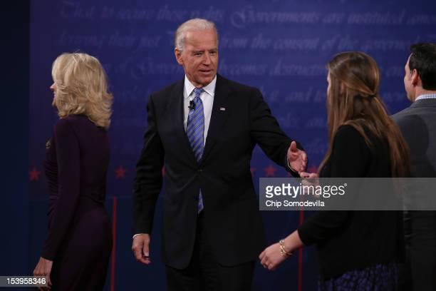 S Vice President Joe Biden talks with daughter Ashley Biden after the vice presidential debate at Centre College October 11 2012 in Danville Kentucky...