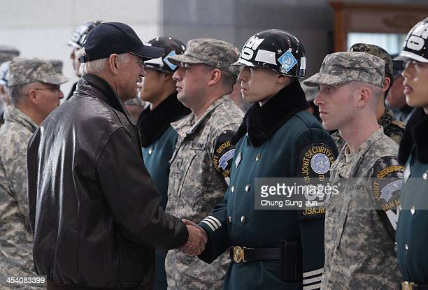 S Vice President Joe Biden talks with Joint Joint Security Area soldiers during a visits at border village of Panmunjom on December 7 South Korea...