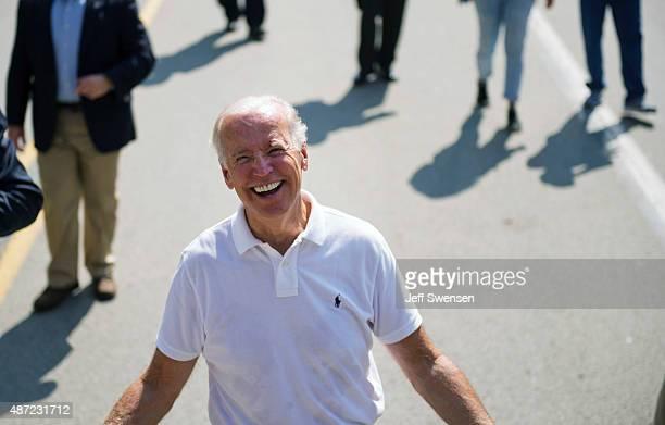S Vice President Joe Biden walks in the annual Allegheny County Labor Day Parade Monday September 7 2015 in Pittsburgh Pennsylvania Biden has been...
