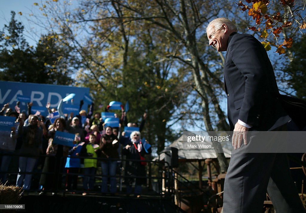 U.S. Vice President Joe Biden walks on stage during a campaign rally at the Heritage Farm Museum, on November 5, 2012 in Sterling, Virginia. Tomorrow voters nationwide will head to the polls to vote in the presidential and congressional elections.