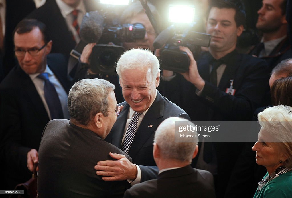 U.S. Vice President Joe Biden (C) welcomes Ehud Barak (L), deputy prime minister and minister of defense of Israel during day 2 of the 49th Munich Security Conference at Hotel Bayerischer Hof on February 2, 2013 in Munich, Germany. The Munich Security Conference brings together senior figures from around the world to engage in an intensive debate on current and future security challenges and remains the most important independent forum for the exchange of views by international security policy decision-makers.