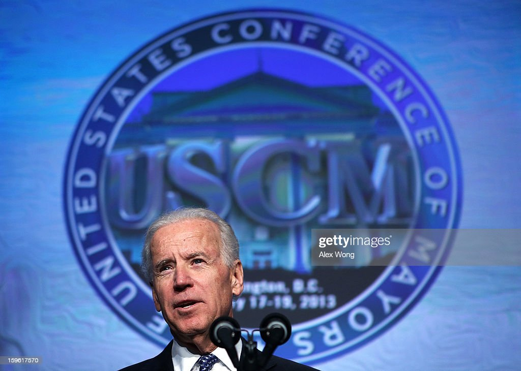 U.S. Vice President <a gi-track='captionPersonalityLinkClicked' href=/galleries/search?phrase=Joseph+Biden&family=editorial&specificpeople=206897 ng-click='$event.stopPropagation()'>Joseph Biden</a> addresses the 81st Winter Meeting of the U.S. Conference of Mayors (USCM) at Capital Hilton Hotel January 17, 2013 in Washington, DC. Biden delivered remarks on gun control during the opening plenary luncheon of the meeting.