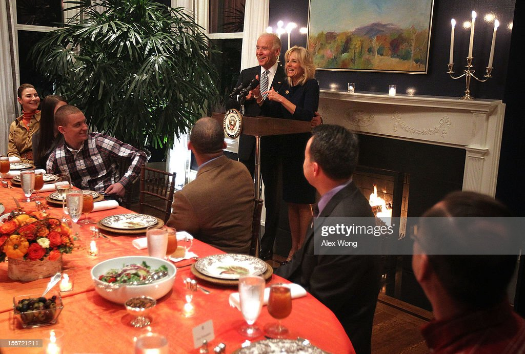 U.S. Vice President <a gi-track='captionPersonalityLinkClicked' href=/galleries/search?phrase=Joseph+Biden&family=editorial&specificpeople=206897 ng-click='$event.stopPropagation()'>Joseph Biden</a> (L) and his wife <a gi-track='captionPersonalityLinkClicked' href=/galleries/search?phrase=Jill+Biden&family=editorial&specificpeople=997040 ng-click='$event.stopPropagation()'>Jill Biden</a> (R) host Wounded Warriors for an early Thanksgiving Dinner November 19, 2012 at the Vice President's residence at the Naval Observatory in Washington, DC. The Bidens continued their tradition to host the 4th annual dinner for Wounded Warriors being treated at the Walter Reed National Military Medical Center and their families who will not be able to leave the DC area to be with family for the holiday.