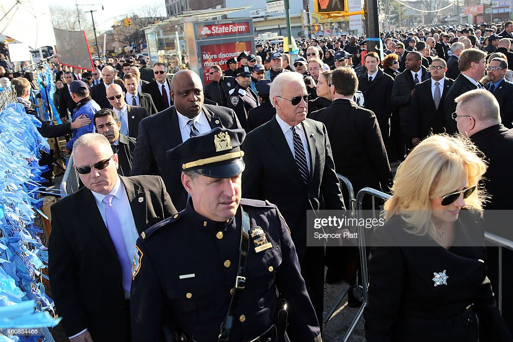 S Vice President Joseph Biden and his wife Jill enter the Christ Tabernacle Church for the funeral of slain New York City Police Officer Rafael Ramos...