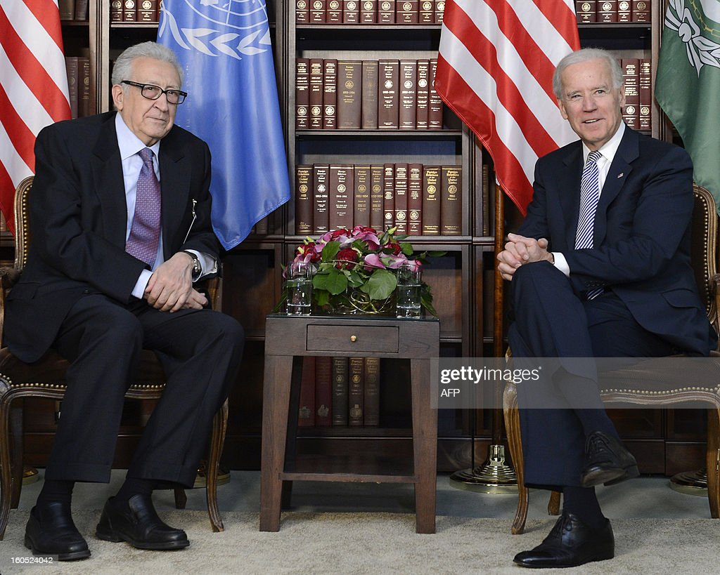 US Vice President Joseph Biden (R) and Joint Special Representative of the United Nations and the League of Arab States on Syria, Algerian Lakhdar Brahimi (L), meet for bilateral talks at the 49th Munich Security Conference on February 2, 2013 in Munich, southern Germany as world leaders, ministers and top military gather for talks with the spotlight on Syria, Mali and Iran.