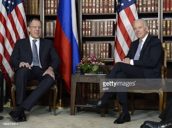 US Vice President Joseph Biden and Minister of Foreign Affairs of the Russian Federation Sergey Lavrov meet for bilateral talks at the 49th Munich...