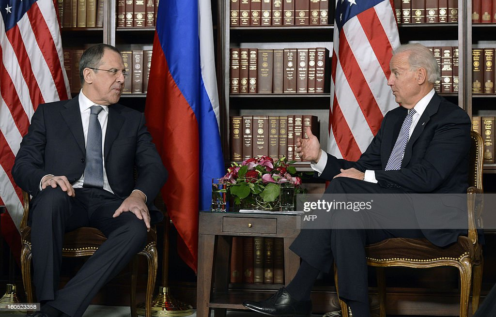 US Vice President Joseph Biden (R) and Minister of Foreign Affairs of the Russian Federation, Sergey Lavrov (L) meet for bilateral talks at the 49th Munich Security Conference on February 2, 2013 in Munich, southern Germany as world leaders, ministers and top military gather for talks with the spotlight on Syria, Mali and Iran.