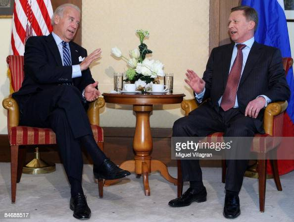 US Vice President Joseph Biden and Russian Deputy Prime Minister Sergei Ivanov meet for bilateral talks during the third day of the Munich conference...