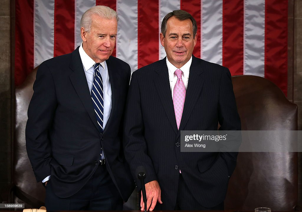 U.S. Vice President <a gi-track='captionPersonalityLinkClicked' href=/galleries/search?phrase=Joseph+Biden&family=editorial&specificpeople=206897 ng-click='$event.stopPropagation()'>Joseph Biden</a> (L) and Speaker of the House Rep. <a gi-track='captionPersonalityLinkClicked' href=/galleries/search?phrase=John+Boehner&family=editorial&specificpeople=274752 ng-click='$event.stopPropagation()'>John Boehner</a> (R-OH) (R) during a joint session of the 113th Congress to count the Electoral College votes January 4, 2013 on Capitol Hill in Washington, DC. The Senate and the House held a joint session to count the Electoral College votes for the 2012 presidential election.