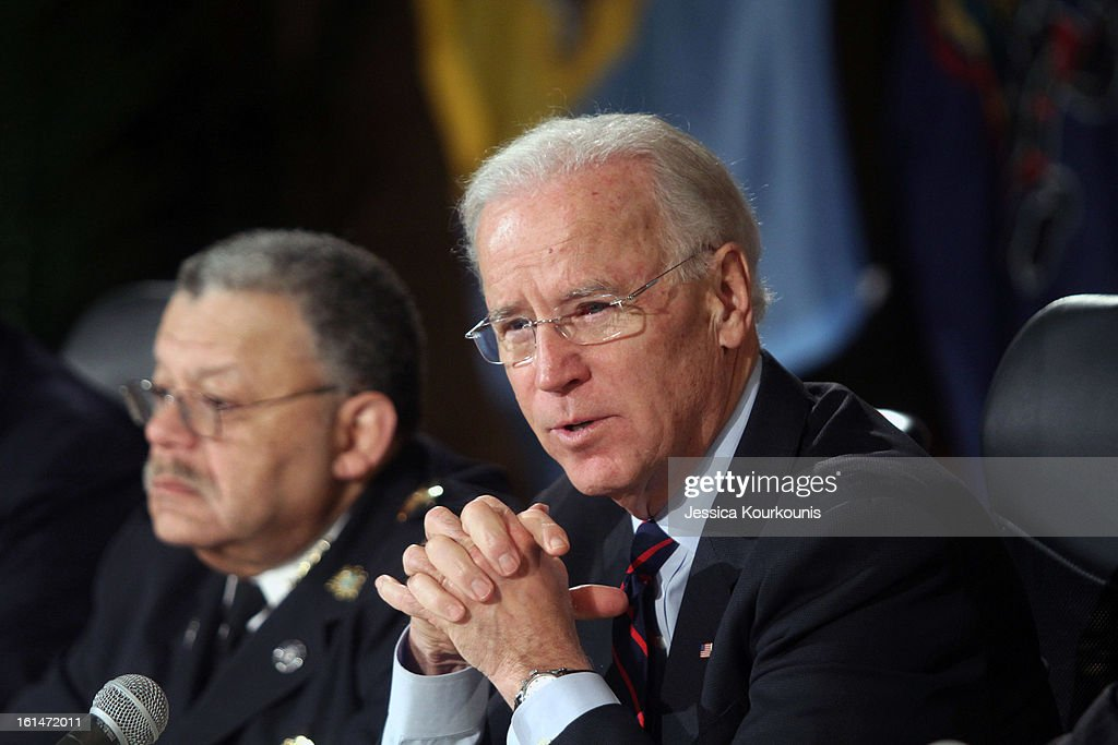 U.S. Vice President <a gi-track='captionPersonalityLinkClicked' href=/galleries/search?phrase=Joseph+Biden&family=editorial&specificpeople=206897 ng-click='$event.stopPropagation()'>Joseph Biden</a> delivers remarks following a roundtable discussion with law enforcement officials to discuss gun safety on February 11, 2013 at Girard College in Philadelphia, Pennsylvania. President Barack Obama's administration is pushing for new gun control measures in the wake of the school shooting in Newtown, Connecticut.