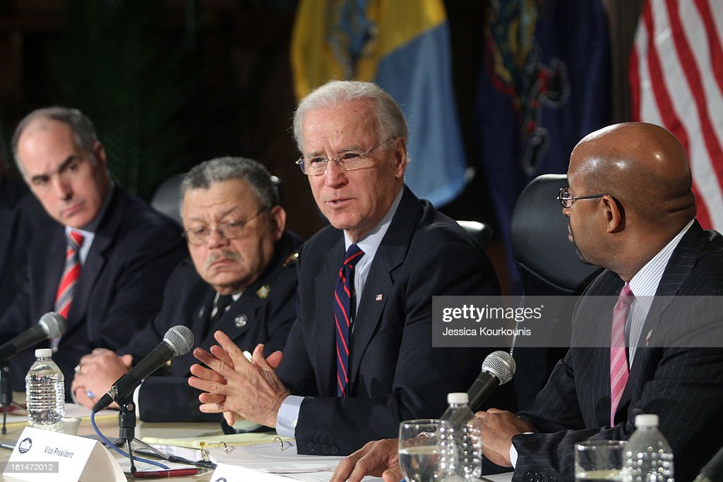 U.S. Vice President <a gi-track='captionPersonalityLinkClicked' href=/galleries/search?phrase=Joseph+Biden&family=editorial&specificpeople=206897 ng-click='$event.stopPropagation()'>Joseph Biden</a> (2R) delivers remarks following a roundtable discussion with law enforcement officials to discuss gun safety on February 11, 2013 at Girard College in Philadelphia, Pennsylvania. President Barack Obama's administration is pushing for new gun control measures in the wake of the school shooting in Newtown, Connecticut.
