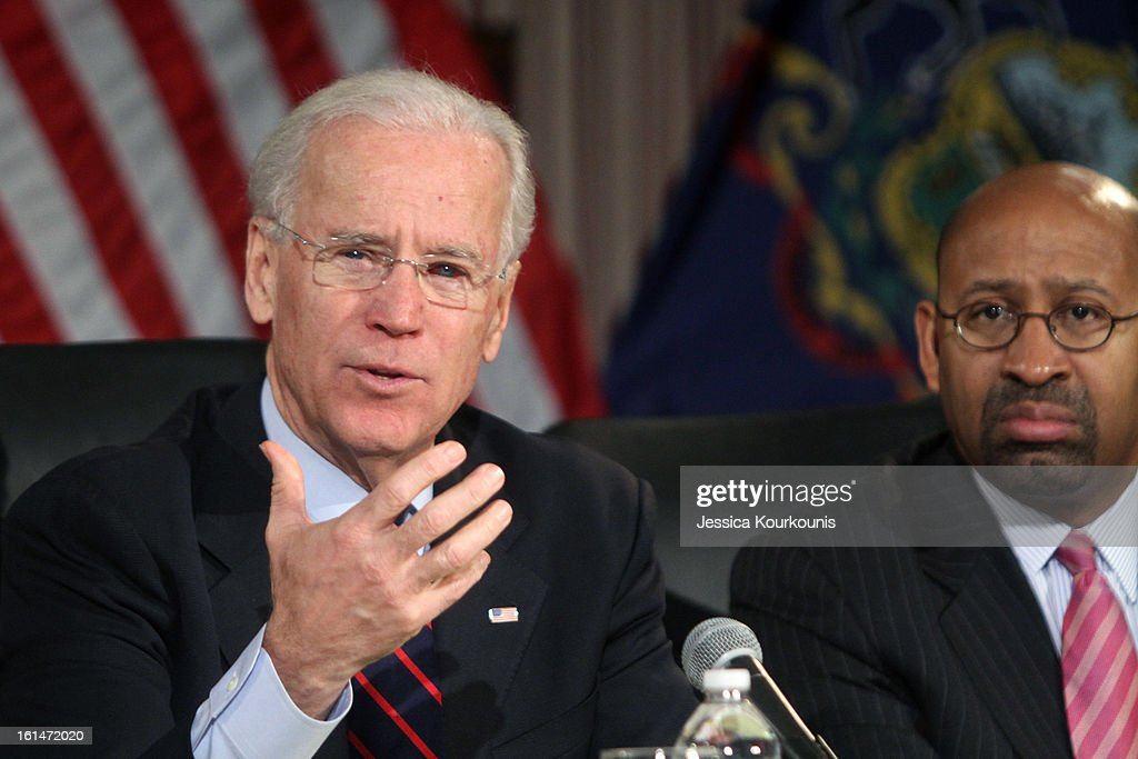 U.S. Vice President Joseph Biden (L) delivers remarks following a roundtable discussion with law enforcement officials to discuss gun safety on February 11, 2013 at Girard College in Philadelphia, Pennsylvania. President Barack Obama's administration is pushing for new gun control measures in the wake of the school shooting in Newtown, Connecticut.