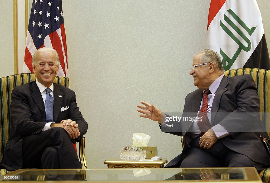 U.S. Vice President <a gi-track='captionPersonalityLinkClicked' href=/galleries/search?phrase=Joseph+Biden&family=editorial&specificpeople=206897 ng-click='$event.stopPropagation()'>Joseph Biden</a> (L) meets with Iraqi President <a gi-track='captionPersonalityLinkClicked' href=/galleries/search?phrase=Jalal+Talabani&family=editorial&specificpeople=213582 ng-click='$event.stopPropagation()'>Jalal Talabani</a> January 23, 2010 in Baghdad, Iraq. Vice President Joe Biden is holding talks with Iraqi leaders amid growing tensions over plans to ban election candidates because of suspected links to Saddam Hussein's regime.