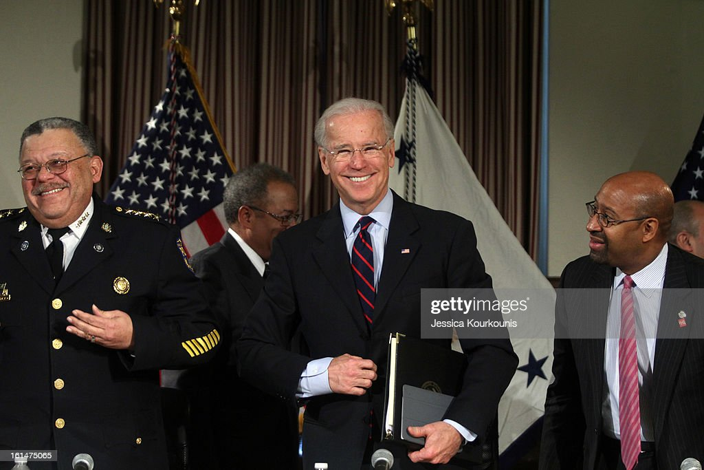 U.S. Vice President <a gi-track='captionPersonalityLinkClicked' href=/galleries/search?phrase=Joseph+Biden&family=editorial&specificpeople=206897 ng-click='$event.stopPropagation()'>Joseph Biden</a> (C), Philadelphia Mayor <a gi-track='captionPersonalityLinkClicked' href=/galleries/search?phrase=Michael+Nutter&family=editorial&specificpeople=4695146 ng-click='$event.stopPropagation()'>Michael Nutter</a> (R) and Philadelphia Police Commissioner Charles Ramsey (L) prepare to leave following a roundtable discussion to discuss gun safety on February 11, 2013 at Girard College in Philadelphia, Pennsylvania. President Barack Obama's administration is pushing for new gun control measures in the wake of the school shooting in Newtown, Connecticut.