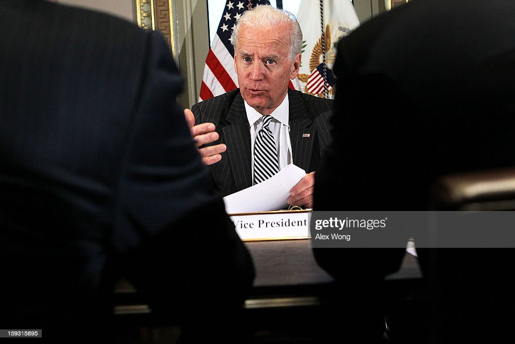 U.S. Vice President <a gi-track='captionPersonalityLinkClicked' href=/galleries/search?phrase=Joseph+Biden&family=editorial&specificpeople=206897 ng-click='$event.stopPropagation()'>Joseph Biden</a> speaks during a meeting with representatives from the video game and entertainment industries January 11, 2013 at the Eisenhower Executive Office Building of the White House in Washington, DC. Biden continued his work on developing policy proposals in response to the shooting tragedy in Newtown, Connecticut. He will give his recommendations to President Barack Obama next week.