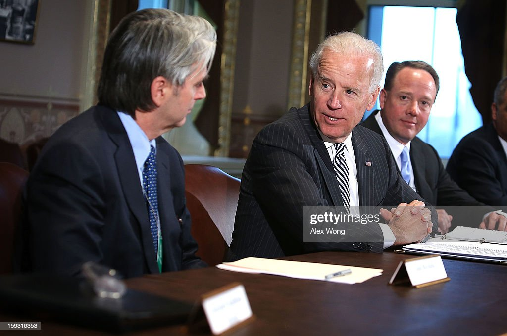 U.S. Vice President <a gi-track='captionPersonalityLinkClicked' href=/galleries/search?phrase=Joseph+Biden&family=editorial&specificpeople=206897 ng-click='$event.stopPropagation()'>Joseph Biden</a> (C) speaks during a meeting with representatives from the video game and entertainment industries January 11, 2013 at the Eisenhower Executive Office Building of the White House in Washington, DC. Biden continued his work on developing policy proposals in response to the shooting tragedy in Newtown, Connecticut. He will give his recommendations to President Barack Obama next week.