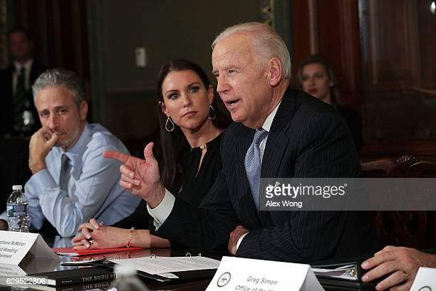 S Vice President Joseph Biden speaks during a roundtable on the Cancer Moonshot Initiative as comedian Jon Stewart and WWE Chief Brand Officer...
