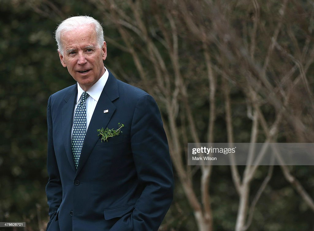 Vice President <a gi-track='captionPersonalityLinkClicked' href=/galleries/search?phrase=Joseph+Biden&family=editorial&specificpeople=206897 ng-click='$event.stopPropagation()'>Joseph Biden</a> waits for the arrival of Prime Minister Enda Kenny of Ireland, at the Naval Observatory, on March 14, 2014 in Washington, DC. Vice President Biden hosted a breakfast for the Irish Prime Minister in honor of St. Patricks Day on Sunday.
