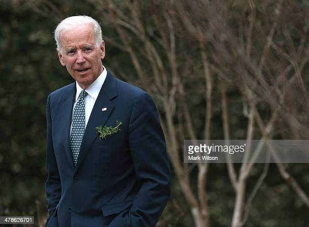 Vice President Joseph Biden waits for the arrival of Prime Minister Enda Kenny of Ireland at the Naval Observatory on March 14 2014 in Washington DC...