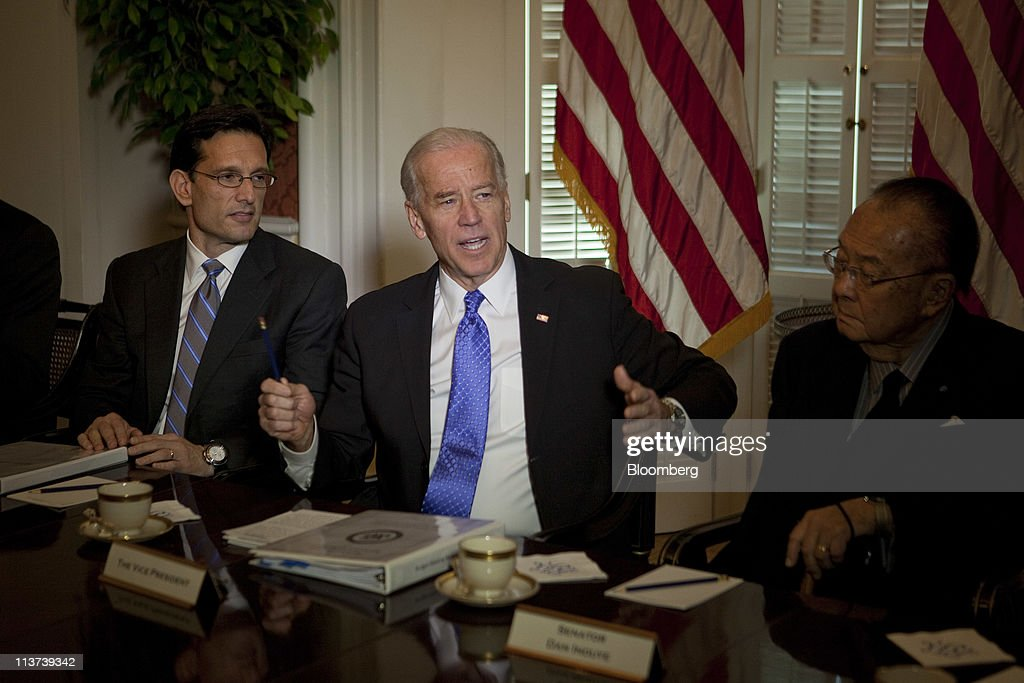 U.S. Vice President Joseph 'Joe' Biden, center, speaks to the media during a meeting on the budget with congressional leaders at Blair House, including House Majority Leader <a gi-track='captionPersonalityLinkClicked' href=/galleries/search?phrase=Eric+Cantor&family=editorial&specificpeople=653711 ng-click='$event.stopPropagation()'>Eric Cantor</a>, a Republican from Virginia, left, and Senator Daniel Inouye, a Democrat from Hawaii, in Washington, D.C., U.S., on Thursday, May 5, 2011. The White House doesn't plan to offer a new proposal beyond the approach President Barack Obama outlined last month to cut a cumulative $4 trillion from deficits over 12 years, Photographer: Andrew Harrer/Bloomberg via Getty Images