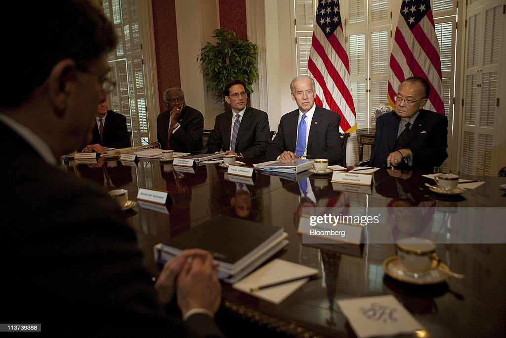 U.S. Vice President Joseph 'Joe' Biden, center, speaks to the media during a meeting on the budget with congressional leaders at Blair House, including House Majority Leader <a gi-track='captionPersonalityLinkClicked' href=/galleries/search?phrase=Eric+Cantor&family=editorial&specificpeople=653711 ng-click='$event.stopPropagation()'>Eric Cantor</a>, a Republican from Virginia, left, Senator Daniel Inouye, a Democrat from Hawaii, right, and Jacob 'Jack' Lew, director of the Office of Management and Budget (OMB), far left, in Washington, D.C., U.S., on Thursday, May 5, 2011. The White House doesn't plan to offer a new proposal beyond the approach President Barack Obama outlined last month to cut a cumulative $4 trillion from deficits over 12 years, Photographer: Andrew Harrer/Bloomberg via Getty Images