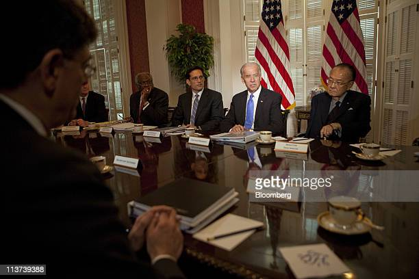 US Vice President Joseph 'Joe' Biden center speaks to the media during a meeting on the budget with congressional leaders at Blair House including...