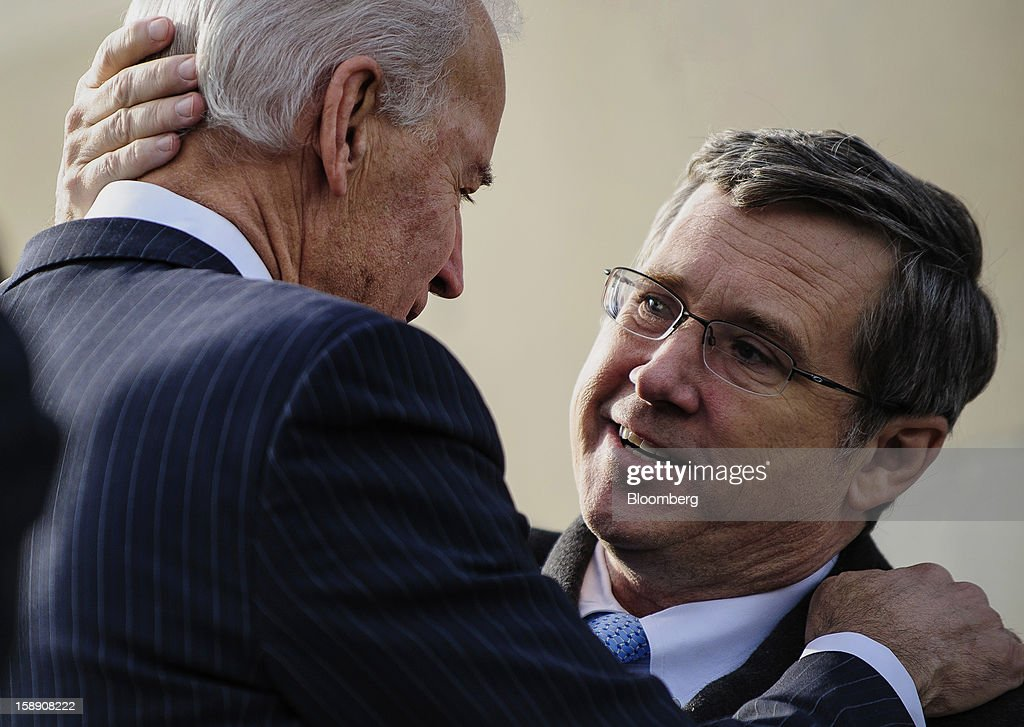 Vice President Joseph 'Joe' Biden, left, greets Senator <a gi-track='captionPersonalityLinkClicked' href=/galleries/search?phrase=Mark+Kirk&family=editorial&specificpeople=2707485 ng-click='$event.stopPropagation()'>Mark Kirk</a>, a Republican from Illinois, on the steps of the U.S. Capitol in Washington, D.C., U.S., on Thursday, Jan. 3, 2013. Kirk returned for the first time since he suffered a stroke on Jan. 23, 2012. The 113th Congress convenes today in Washington where new members will try to meld their diverse backgrounds in a legislature containing a record seven openly gay lawmakers, an unprecedented 20 women in the Senate and the first all-female state delegation, from New Hampshire. Photographer: Pete Marovich/Bloomberg via Getty Images