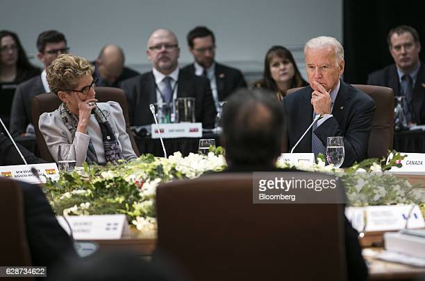 US Vice President Joseph 'Joe' Biden right and Kathleen Wynne premier of Ontario listen during a First Ministers Meeting in Ottawa Ontario Canada on...