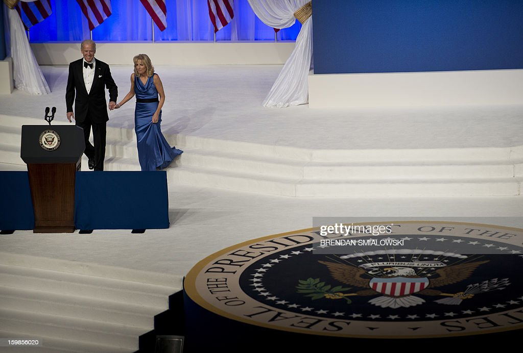 US Vice President Joseph R. Biden and Dr. Jill Biden attend the Commander in Chief Ball at the Washington Convention Center January 21, 2013 in Washington, DC. Obama and Biden attended Inauguration balls after being ceremonially sworn in for a second term leading the United States earlier today. AFP PHOTO/Brendan SMIALOWSKI