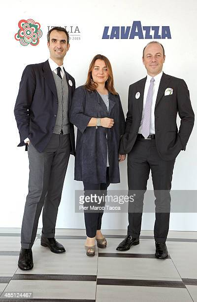Vice President Lavazza Group Marco Lavazza Corporate Image Director Francesca Lavazza and Giuseppe Lavazza attend the Lavazza at Expo 2015 press...
