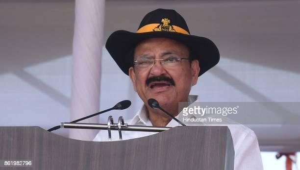 Vice President M Venkaiah Naidu addresses the people during a function to celebrate the 33rd NSG Raising Day at Manesar campus on October 16 2017 in...