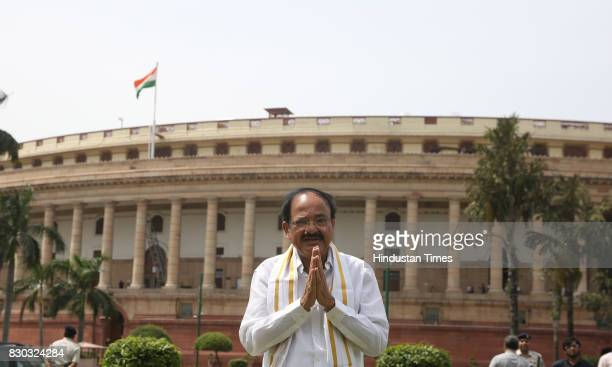 Vice President M Venkaiah Naidu at Parliament House during Monsoon Session of Parliament before taking charge of the Session at Rajya Sabha on August...