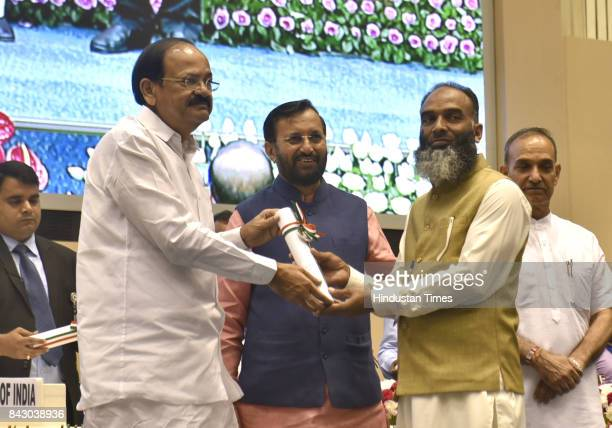 Vice President M Venkaiah Naidu confers the National Award to meritorious teachers working in primary middle and secondary schools on the occasion of...